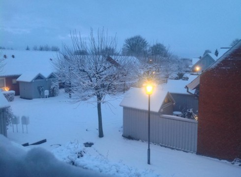 Aarhus i snevejr Julemorgen