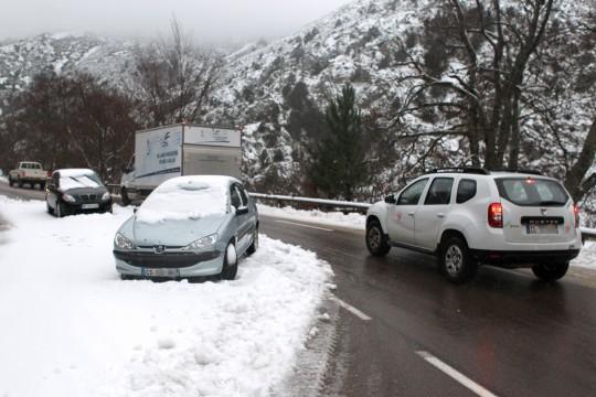 Sne på den indre bjergrige del af Korsika den 9/12 2014